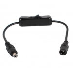 HS0583 5.5x2.1mm DC power cable with ON/OFF switch Black