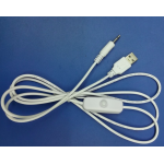 HS0874 white USB Male to 3.5*1.35mm DC cable 120cm with button