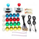 HS1025 2 Players DIY Arcade Joystick Kits With 20 LED Arcade Buttons + 2 Joysticks + 2 USB Encoder Kit + Cables Arcade Game Parts Set