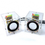 HS0045 Dual Channel DIY Transparent Mini Amplifier Speaker Kit 65x65x70mm 3W Per Channel
