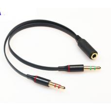 HS0478 3.5 mm stereo mini jack 1 Female to 2 Male