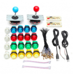 HS1025 2 Players DIY Arcade Joystick Kits With 20 LED Arcade Buttons + 2 Joysticks + 2 USB Encoder Kit + Cables Arcade Game Parts Set