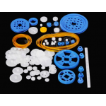 HS1227 80 Pcs Plastic RC Parts Lot, Plastic Gears, Pulley, Belt, Rack Gear Kit Gearbox Motor Gear Set