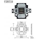 HS1646 27-32V 10W High Power LED UV Light 380nm-385nm Ultra Violet