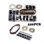 HS2238 520PCS 2.54mm Jumper Pin Housing Header Crimp Connector With Hook Kit Male Femal Terminals Set Black Jump Wire Connectors