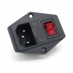 HR0405 ICE320 C14 Power Socket Receptable Inlet With Fuse Holder Red Light On-Off Rocker Switch