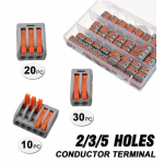 HS2444 60Pcs 2/3/5 Holes Spring Conductor Terminal Block Electric Cable Wire Connector