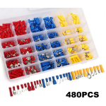HS2445 480Pcs Insulated Electrical Wire Connector Terminal Crimp Connectors Kit Box