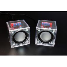 HS0045 Dual Channel DIY Transparent Mini Amplifier Speaker Kit 65x65x70mm 3W Per Channel