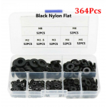 HS2617 364pcs Black Nylon Washer Flat Gasket M2 M2.5 M3 M4 M5 M6 M8 Plastic Sealing O-rings Assortment