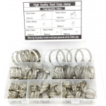 HS2619 60Pcs Hose Clamps 8-38mm Diameter Clips Worm Gear Hose Clamp Assortment Kit For Water Pipe Air Tube Hardware Accessories