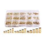 HS2621 250 Pcs M2 M3 M4 Female Thread Brass Knurled Threaded Insert Embedment Nuts Assortment Kit