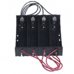 HS2726 Black ABS 18650 Battery Storage Box Case 4 Slot Way 3.7V DIY Batteries Power Bank Clip Holder Container With Wire