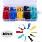 HS2805 100-Pcs 22-16 AWG Assorted Insulated Female & Male Bullet Butt Wire Crimp Connector Terminals Assortment Kit