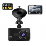 HS2857 4 Inch 1080P HD Car Dual Lens Front + Rear Car Dash Cam DVR Camera Recorder Touch Screen