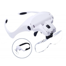 HS2863 5 Lens Loupe Eyewear Magnifier With Led Lights Lamp Interchangeable Lens 1.0X-3.5X Magnification Wearing Glasses
