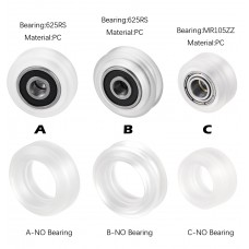 HS3058 High precision CNC clear Polycarbonate Xtreme v Mini wheel with 625 bearing for Openbuilds v-slot linear rail system