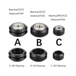 HS3059 High precision CNC Black Polycarbonate Xtreme v Mini wheel with 625 bearing for Openbuilds v-slot linear rail system
