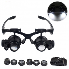 HS3064 10X 15X 20X 25X LED Double Eye watch repair Magnifier with light