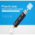 HS3084 New 5 In1 TF Memory Card Reader USB 3.0 Type C/USB/Micro USB SD OTG Adapter