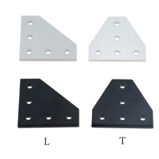HS3272 5 Hole Black/Silver Joint Board Plate Corner Angle Bracket Connection Joint Strip for 2020 3030 4040 Aluminum Profile