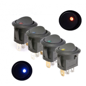 HS3509 10pcs KCD2 12V 20A Round Rocker Switch Toggle ON-OFF 2 Position 3 Pins Push Button Switches With Light