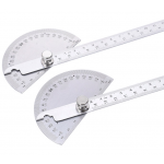 HS0308 W0262A 90X150MM 180 Degree Stainless Steel Protractor Round Angle Ruler Tool