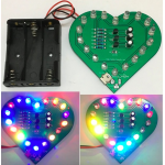 HR0555 DIY Heart Shaped Three Colors LED Flashing Light Circuit Board Kit 3-5V USB
