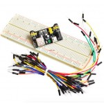 HR0257 MB102 breadboard module+MB102 830 holes breadboard+65pcs jumper wire