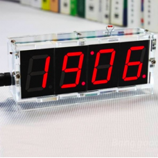 HR0411 DIY 4 Digit LED Electronic Clock Kit with case  Red